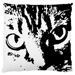 Cat Large Flano Cushion Case (one Side) by Valentinaart