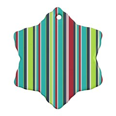 Colorful Striped Background  Snowflake Ornament (two Sides)