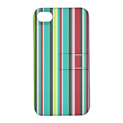 Colorful Striped Background  Apple Iphone 4/4s Hardshell Case With Stand by TastefulDesigns