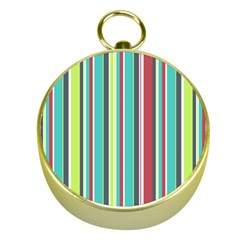 Colorful Striped Background  Gold Compasses by TastefulDesigns