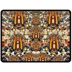 Lady Panda Goes Into The Starry Gothic Night Double Sided Fleece Blanket (large)  by pepitasart