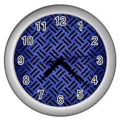 Woven2 Black Marble & Blue Brushed Metal (r) Wall Clock (silver) by trendistuff