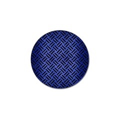 Woven2 Black Marble & Blue Brushed Metal (r) Golf Ball Marker by trendistuff