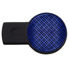 Woven2 Black Marble & Blue Brushed Metal (r) Usb Flash Drive Round (2 Gb) by trendistuff