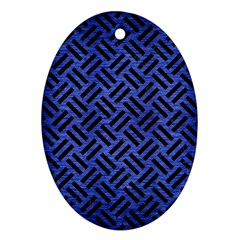 Woven2 Black Marble & Blue Brushed Metal (r) Oval Ornament (two Sides) by trendistuff