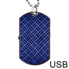 Woven2 Black Marble & Blue Brushed Metal (r) Dog Tag Usb Flash (one Side) by trendistuff