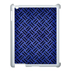 Woven2 Black Marble & Blue Brushed Metal (r) Apple Ipad 3/4 Case (white) by trendistuff