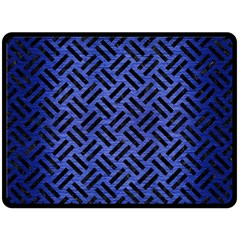 Woven2 Black Marble & Blue Brushed Metal (r) Double Sided Fleece Blanket (large)