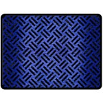 WOVEN2 BLACK MARBLE & BLUE BRUSHED METAL (R) Double Sided Fleece Blanket (Large) 80 x60 Blanket Back