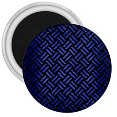 Woven2 Black Marble & Blue Brushed Metal 3  Magnet by trendistuff