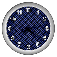 Woven2 Black Marble & Blue Brushed Metal Wall Clock (silver) by trendistuff