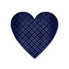 Woven2 Black Marble & Blue Brushed Metal Magnet (heart) by trendistuff