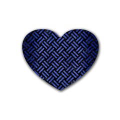 Woven2 Black Marble & Blue Brushed Metal Rubber Heart Coaster (4 Pack) by trendistuff