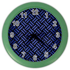 Woven2 Black Marble & Blue Brushed Metal Color Wall Clock by trendistuff