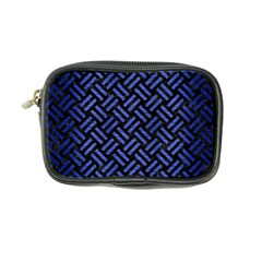 Woven2 Black Marble & Blue Brushed Metal Coin Purse by trendistuff