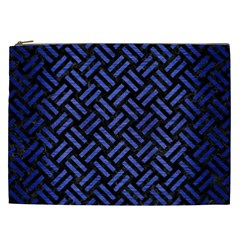 Woven2 Black Marble & Blue Brushed Metal Cosmetic Bag (xxl) by trendistuff