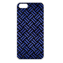 Woven2 Black Marble & Blue Brushed Metal Apple Iphone 5 Seamless Case (white) by trendistuff