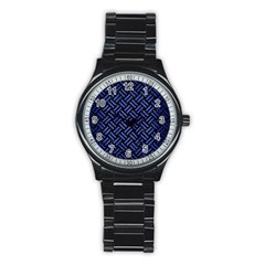 Woven2 Black Marble & Blue Brushed Metal Stainless Steel Round Watch by trendistuff