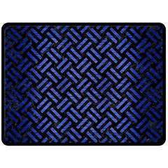 Woven2 Black Marble & Blue Brushed Metal Double Sided Fleece Blanket (large) by trendistuff