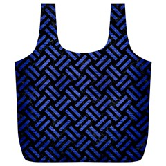 Woven2 Black Marble & Blue Brushed Metal Full Print Recycle Bag (xl) by trendistuff