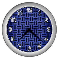Woven1 Black Marble & Blue Brushed Metal (r) Wall Clock (silver) by trendistuff