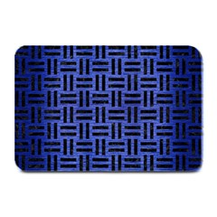 Woven1 Black Marble & Blue Brushed Metal (r) Plate Mat by trendistuff