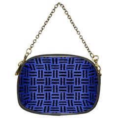 Woven1 Black Marble & Blue Brushed Metal (r) Chain Purse (two Sides) by trendistuff