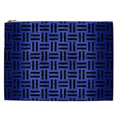 Woven1 Black Marble & Blue Brushed Metal (r) Cosmetic Bag (xxl) by trendistuff