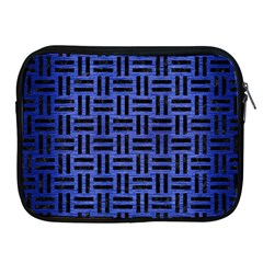 Woven1 Black Marble & Blue Brushed Metal (r) Apple Ipad Zipper Case by trendistuff