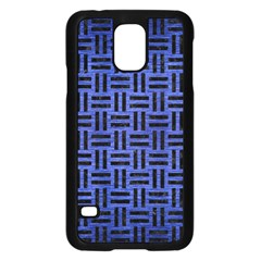 Woven1 Black Marble & Blue Brushed Metal (r) Samsung Galaxy S5 Case (black) by trendistuff