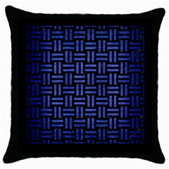 Woven1 Black Marble & Blue Brushed Metal Throw Pillow Case (black) by trendistuff