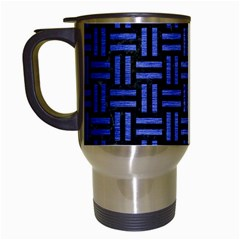 Woven1 Black Marble & Blue Brushed Metal Travel Mug (white) by trendistuff
