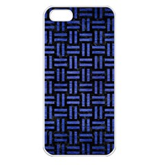 Woven1 Black Marble & Blue Brushed Metal Apple Iphone 5 Seamless Case (white) by trendistuff