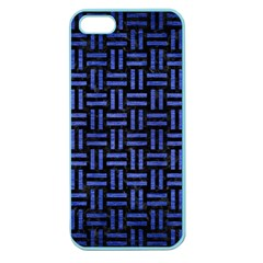 Woven1 Black Marble & Blue Brushed Metal Apple Seamless Iphone 5 Case (color) by trendistuff