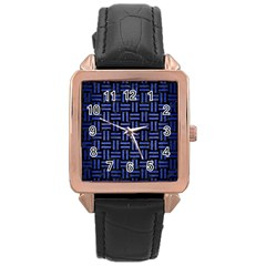 Woven1 Black Marble & Blue Brushed Metal Rose Gold Leather Watch  by trendistuff