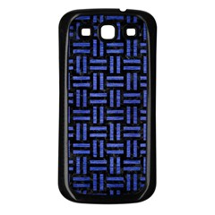 Woven1 Black Marble & Blue Brushed Metal Samsung Galaxy S3 Back Case (black) by trendistuff