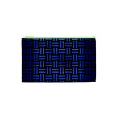 Woven1 Black Marble & Blue Brushed Metal Cosmetic Bag (xs) by trendistuff