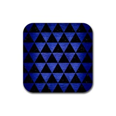 Triangle3 Black Marble & Blue Brushed Metal Rubber Coaster (square) by trendistuff