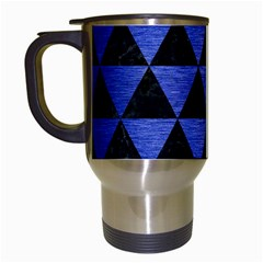 Triangle3 Black Marble & Blue Brushed Metal Travel Mug (white) by trendistuff