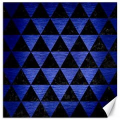Triangle3 Black Marble & Blue Brushed Metal Canvas 12  X 12  by trendistuff