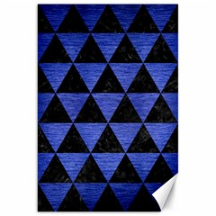 Triangle3 Black Marble & Blue Brushed Metal Canvas 20  X 30  by trendistuff