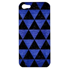 Triangle3 Black Marble & Blue Brushed Metal Apple Iphone 5 Hardshell Case by trendistuff
