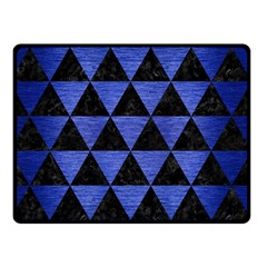 Triangle3 Black Marble & Blue Brushed Metal Double Sided Fleece Blanket (small) by trendistuff
