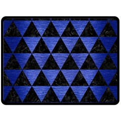 Triangle3 Black Marble & Blue Brushed Metal Double Sided Fleece Blanket (large) by trendistuff
