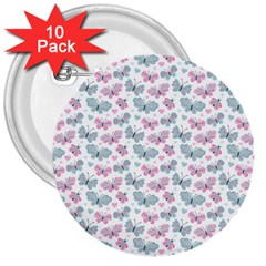 Cute Pastel Butterflies 3  Buttons (10 Pack)  by tarastyle