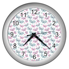 Cute Pastel Butterflies Wall Clocks (silver)