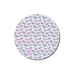 Cute Pastel Butterflies Rubber Coaster (round)