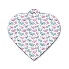 Cute Pastel Butterflies Dog Tag Heart (one Side)
