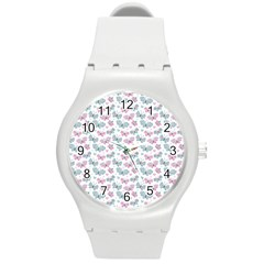 Cute Pastel Butterflies Round Plastic Sport Watch (m)