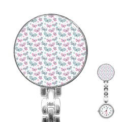 Cute Pastel Butterflies Stainless Steel Nurses Watch